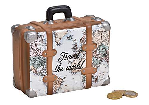 MC Trend Spardose Koffer Landkarte Travel The World Urlaub Traumreise Weltreise Reise Geld Geldgeschenk-Idee Wünsche (Koffer Landkarte)