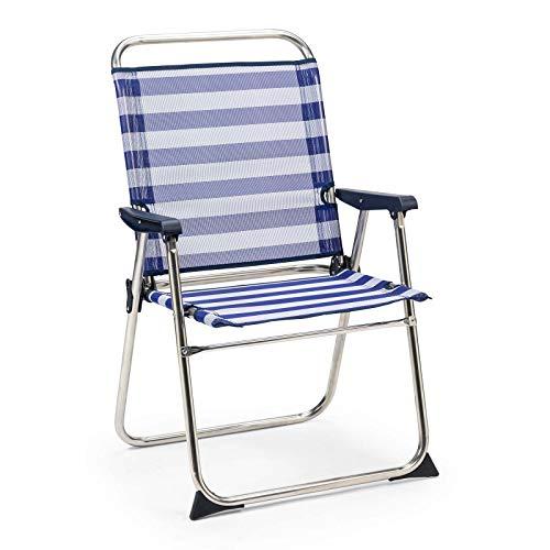 SOLENNY - Silla de Playa Plegable Marinera con Respaldo Alto Azul y Blanca