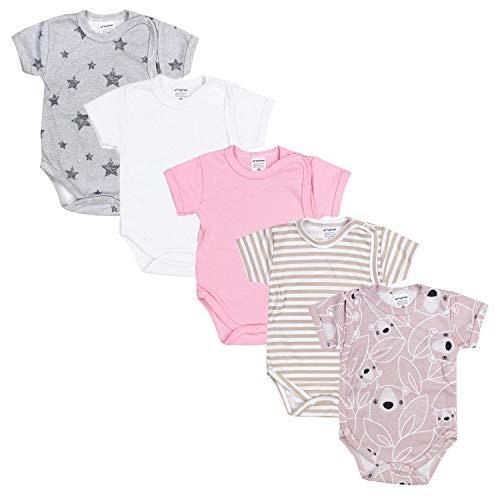 TupTam Baby Mädchen Kurzarm Wickelbody Baumwolle 5er Set, Farbe: Farbenmix 4, Größe: 80