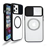 Szfirstey for iPhone 12 Pro Max Case, CamShield with Slide Camera Cover Metal Ring Compatible with Magsafe Charger Accessories (Black)