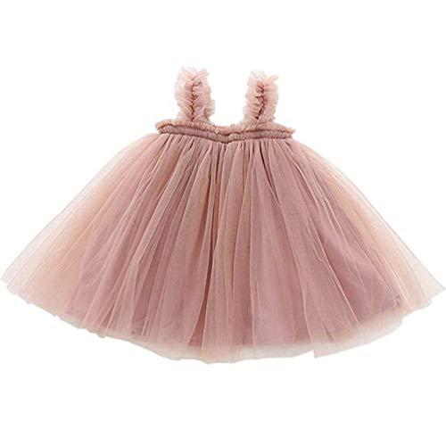 Ugitopi Baby Mädchen Kleinkind Tutu Kleid ärmellose Prinzessin Infant Tüll Kleid (B-Tan, 90)