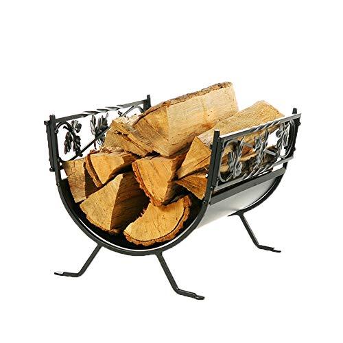 Leña Cesta, gran chimenea de madera Cuna, sostenedor del metal Log -...