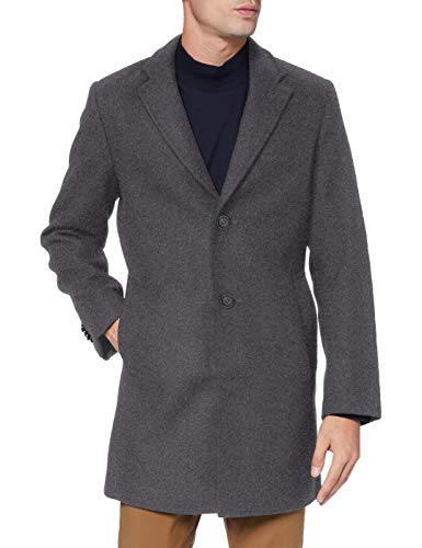 TOM TAILOR Herren Classic Wollmantel, 19081-mid Grey Wool Struct, L