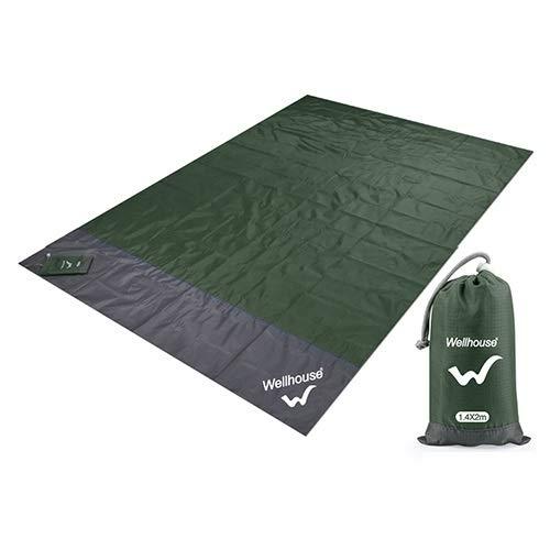 Konstellation Isomatte wasserdichte Stranddecke im Freien beweglichen Picknick-Boden Matten-Matratze-Outdoor-Camping-Picknick-Matte Decke 1.4 * 2m (Color : Army Green, Size : 2m x1.4m)