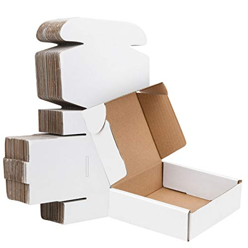 5x5x2 Inch Small Shipping Boxes - White Cardboard Corrugated Mailing Box 40 Pack Literature Mailer Box For Small Business