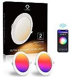 Downlight Led Techo Inteligente Ultrafina 18W 1440LM, Lumary LED Empotrable Techo con Caja de Conexiones Controlada por APP, Funciona con Alexa, Google Home (18W 2p)