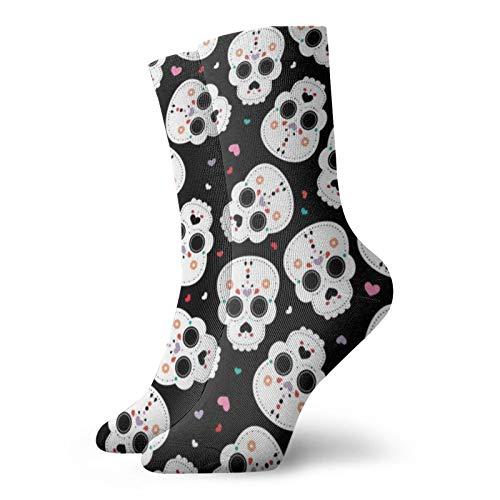 Colin-Design Mexikanische Sugar Skulls Dia De Los Muertos Skull Halloween Personalisierte Socken Sport Athletic Strümpfe 30,5 cm Crew Socken für Männer Frauen