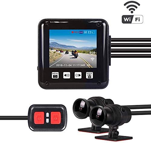 VSYSTO Motorrad Dash Cam Motorrad Kamera 1080P Doppellinse Vordere und hintere Kamera WiFi Fahrschreiber wasserdichte Sportkamera DVR 2.0 Zoll LCD Bildschirm 150 ° Weitwinkel Nachtsicht