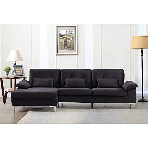 MAFOROB Velvet Fabric Sectional Sofa Couch for Living Room with Pillows, Black