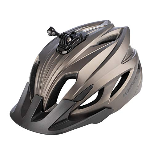 MOKFIRE Mountain Bike Helmet with Camera Mount & Detachable Sun Visor MTB Road Bicycle Helmets Adjustable Cycling Helmet Certificated by CPSC, Sizes for Adults Men/Women - Matte Titanium