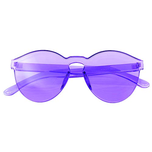 Emblem Eyewear - Mono Bloque Sin Montura PC Color Tone Lens Gafas De Sol Gafas (Púrpura)