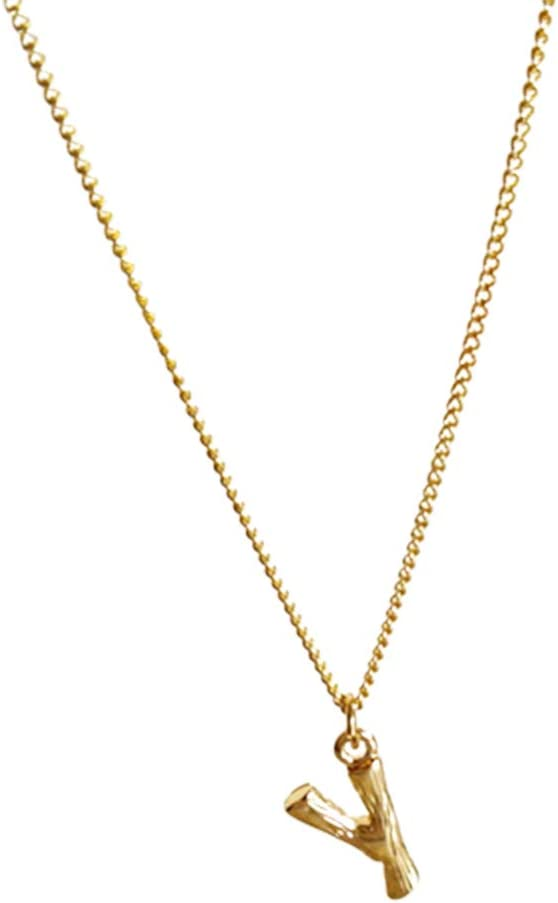 discountstore145 Women's Pendants Minimalist Letter Alphabet Short Chain Necklaces Jewelry Set Y