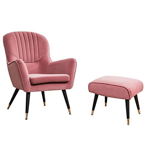 Creator-Z Butaca nórdica sillón tapizado Respaldo escandinavo Escandinavia con reposapiés con reposapiés,Rosado