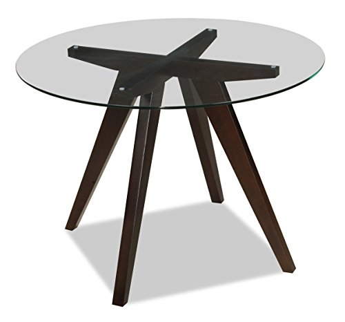"""Uptown Club Caleope Collection Contemporary Round Glass Top Dining Room Table, 41.3""""L x 41.3"""" W x 29.5"""" H, Dark Walnut"""