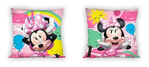 Disney Funda de cojín con diseño de Mickey y Minnie Mouse, 40 x 40 cm, doble cara impresa en la parte delantera y trasera, idea de regalo (Minnie 04)