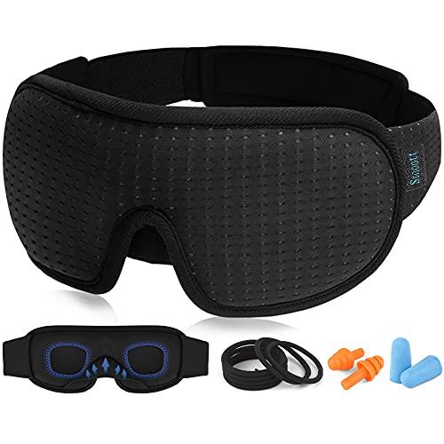 Sleep Eye Mask for Men Women, 3D Contoured Cup Sleeping Mask & Blindfold, Concave Molded Night Sleep Masks , 100% Blackout Eye Mask, Soft Comfort Eye Shade Cover for Travel Yoga Nap, Black
