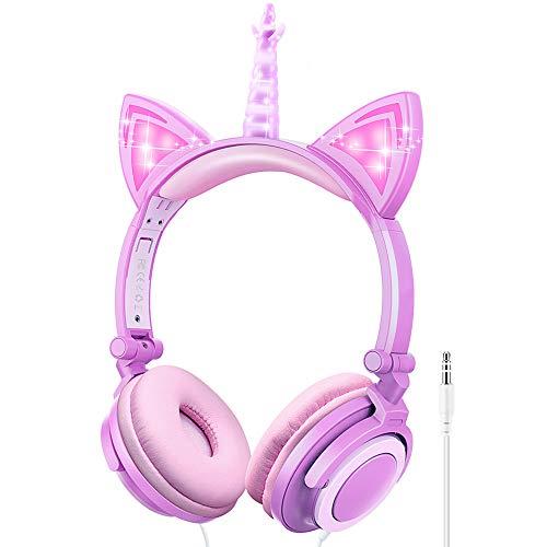 Kinder Kopfhörer, Ifecco Faltbare Kopfhörer mit LED Katzen Ohren Verkabelte Over Ear Headset Kopfhörer für iPod iPad iPhone Android Handy Tablet PC MP3 MP4 Playe (Lila)