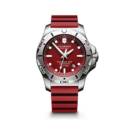 Victorinox Swiss Army Men's I.N.O.X. Stainless Steel Swiss-Quartz Diving Watch with Rubber Strap, red, 22 (Model: 241736.1)