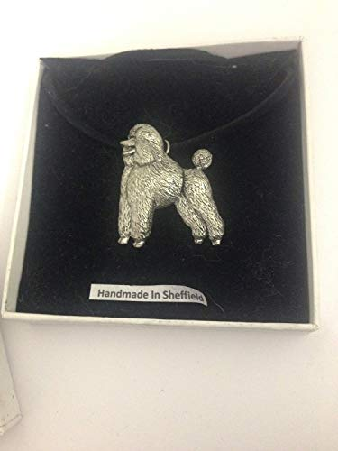 Poodle PP-D18 - Collar de peltre inglés con cordón negro, hecho a mano, 41 cm