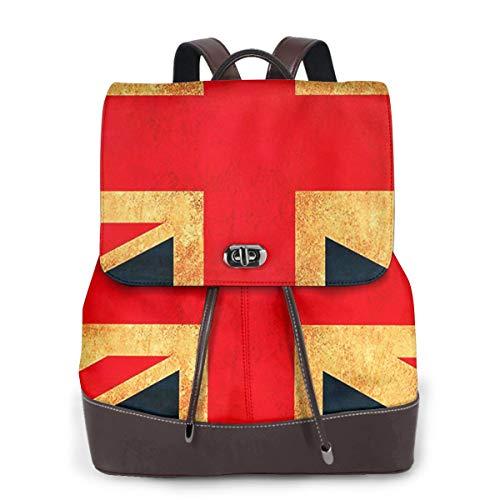 SGSKJ Rucksack Damen Union Jack Flagge GB BRITISCHES Land, Leder Rucksack Damen 13 Inch Laptop Rucksack Frauen Leder Schultasche Casual Daypack Schulrucksäcke Tasche Schulranzen