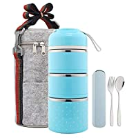 Hukphd 保温ランチバッグ付き弁当箱、ベントボックススタッカブルステンレス製ランチ収納容器、保温フード付き保温袋付き3層ピンク 、オン・ザ・ゴー食事やスナックパッキング (Color : Blue)