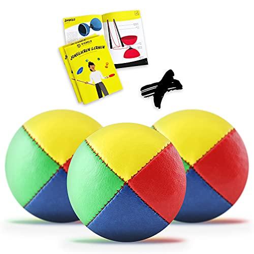 3er Set Jonglierbälle mit gedruckter Jonglage Anleitung - 62mm Jonglierball - Füllung aus nachhaltiger Vogelhirse - wasserabweisendes Kunstleder - Jonglier-Set zur Jonglage für Kinder & Anfänger