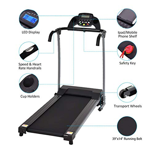 Goplus Folding Treadmill with Mobile Phone Holder