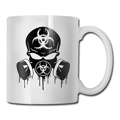 N\A Taza de Doble Cara Blk Skull Dripping Biohazard Respirador Regalo Divertido Taza de café con Taza Coffeeteacocoa Taza de café para cumpleaños y Navidad