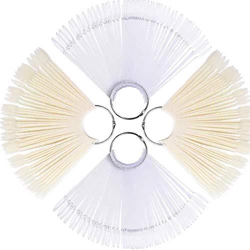 TANGGER 200 PCS Abanico de Uñas Blanco y Transparente,Falso Uñas Arte Puntas Mostrar Muestra Nail Art Tips Práctica de Uñas