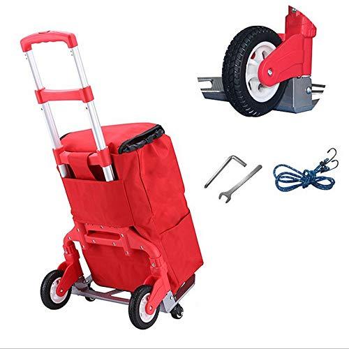Klappwagen, 150 kg Schwerer Karren, Gepäckwagen mit Teleskopgriff für Gepäck, Privat-, Reise-, Auto-, Umzugs- und Bürogebrauch,Rot,4