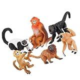 Gadpiparty 6 Piezas Figura de Mono Juguete Realista Juguete de Mono Animales de La Selva Figuras Niños Juguetes Educativos Suministros para Fiestas de Niños