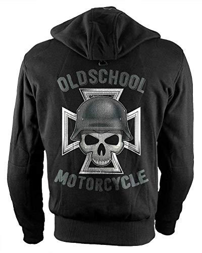 Rebel on Wheels Biker-Hoodie Motorrad-Hoodie Aramid German Oldschool Motorcycle Schwarz Totenkopf HD L