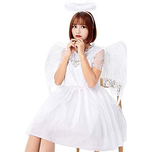 wtnhz Cosplay Novedad Regalo Halloween Navidad Demonio Cosplay caído ángel Negro Disfraz con alas Falda Diablo...