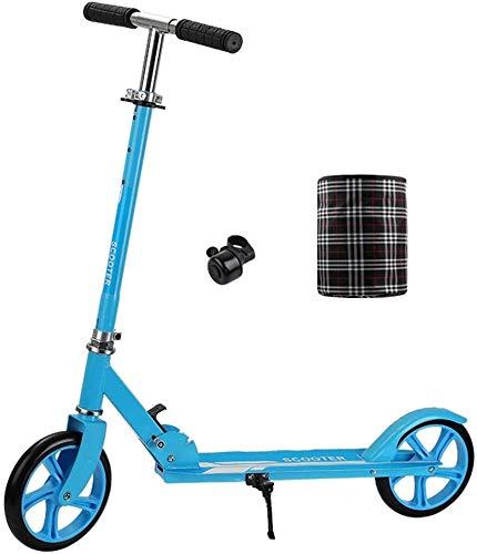 LBWARMB Patinetes para Niños Kick Urbana Adulto Scooter con Ruedas Grandes Y Cesta Plegable portátil de cercanías Vespa Altura Ajustable Incluye Campana (Color : Blue)
