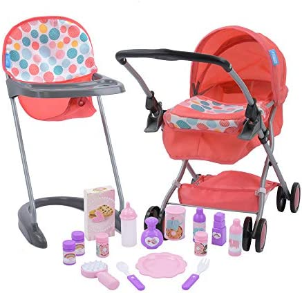 Hauck 17 Piece Baby Doll Set with Folding Pram High Chair product image