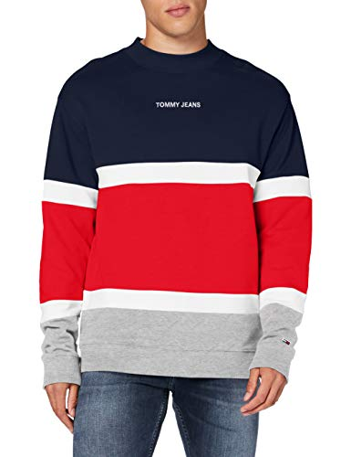 Tommy Jeans Tjm Retro Colorblock High Crew Maglione, Blu (Twilight Navy/Multi), X-Small Uomo