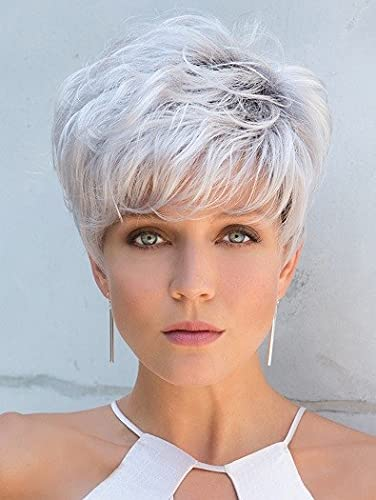 GNIMEGIL Short Silver Wigs for White Women,Natural Layered Curly Pixie Cuts Wig with Bangs Dark Roots Ombre Wig,Synthetic Wig for Older Women,Mommy Halloween Wig Old Lady Wig