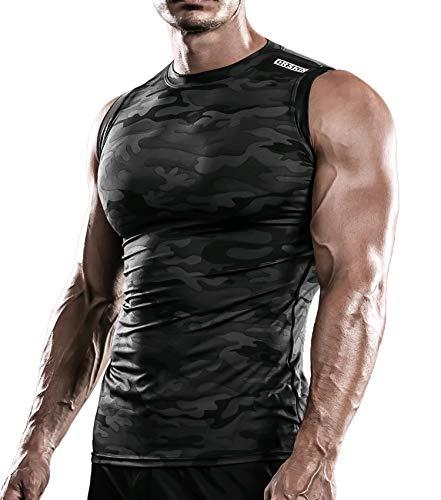 DRSKIN Men's Compression Shirt Tank Tops Undershirts Running Dry Cool Baselayer Sleeveless Workout Gym (M, STMBB11)