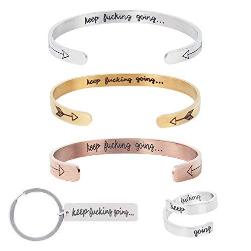 kilofly Women's and Men's 5 Pack Keep Funking Going Bracelet Ring Keychain, Gold Rose Gold Silver