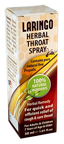 Dan Pharm Laringo Herbal Throat Spray Contains Pure Natural Bee Propolis. 100% Natural Herbal Remedy. For The Quick &Amp; Efficient Relief Of A Cough &Amp; Sore Throat.