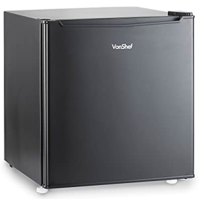VonShef 47L Mini Fridge with Freezer Compartment - Table Top Fridge for Bedrooms with Reversible Door, Temperature Control & Door Storage - Black