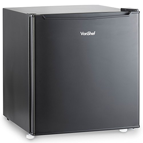 VonShef 47L Mini- Kühlschrank - Tischkühlschrank mit Temperaturregler und Gefrierfach - Schwarz