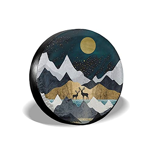 """cozipink Mountains Moon Nature Lake Landscape Deer Spare Tire Cover Weatherproof Vintage Starry Sky Wheel Protectors Universal Fit for Rv Trailer SUV Truck Camper Travel Trailer 15"""""""
