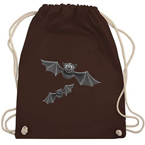 Shirtracer Halloween - süße Fledermäuse - Unisize - Braun - fledermaus tasche - WM110 - Turnbeutel und Stoffbeutel aus Baumwolle