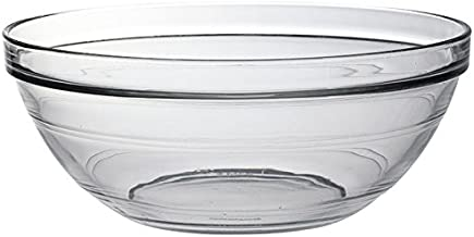 Duralex - Lys Stackable Clear Glass Bowl, 2-1/2 Quarts 9 Inches Set of 6