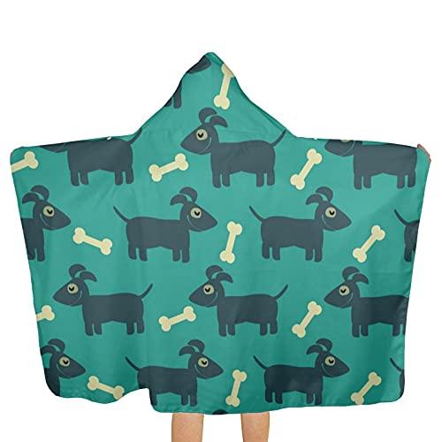 UUICYLTD Happy Dogs and Bones - Toallas con capucha para niños, ultra suaves, extra grandes, de secado rápido, toallas de baño con capucha para niños y niñas (tamaño único)