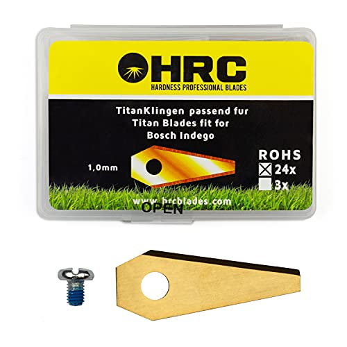 HRC Titanium Messer, Ersatzklingen für Bosch Indego Mähroboter, Langlebige Klingen aus rostfreiem Stahl, inklusive Schrauben, 24 Stück