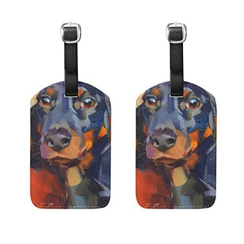LORONA Dachshund Portrait Gemälde Tier Paiting Gepäckanhänger Strings Travel ID Label für Koffer Handgepäck, 2er Set