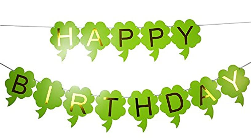 Brcohco Happy Birthday Banner Bunting with Gold Letters Party Supplies Green