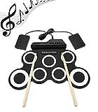 Kit de batería digital portátil enrollable, 7 almohadillas, de silicona, kit de batería MIDI con metrónomo integrado para principiantes y niños (7 almohadillas)